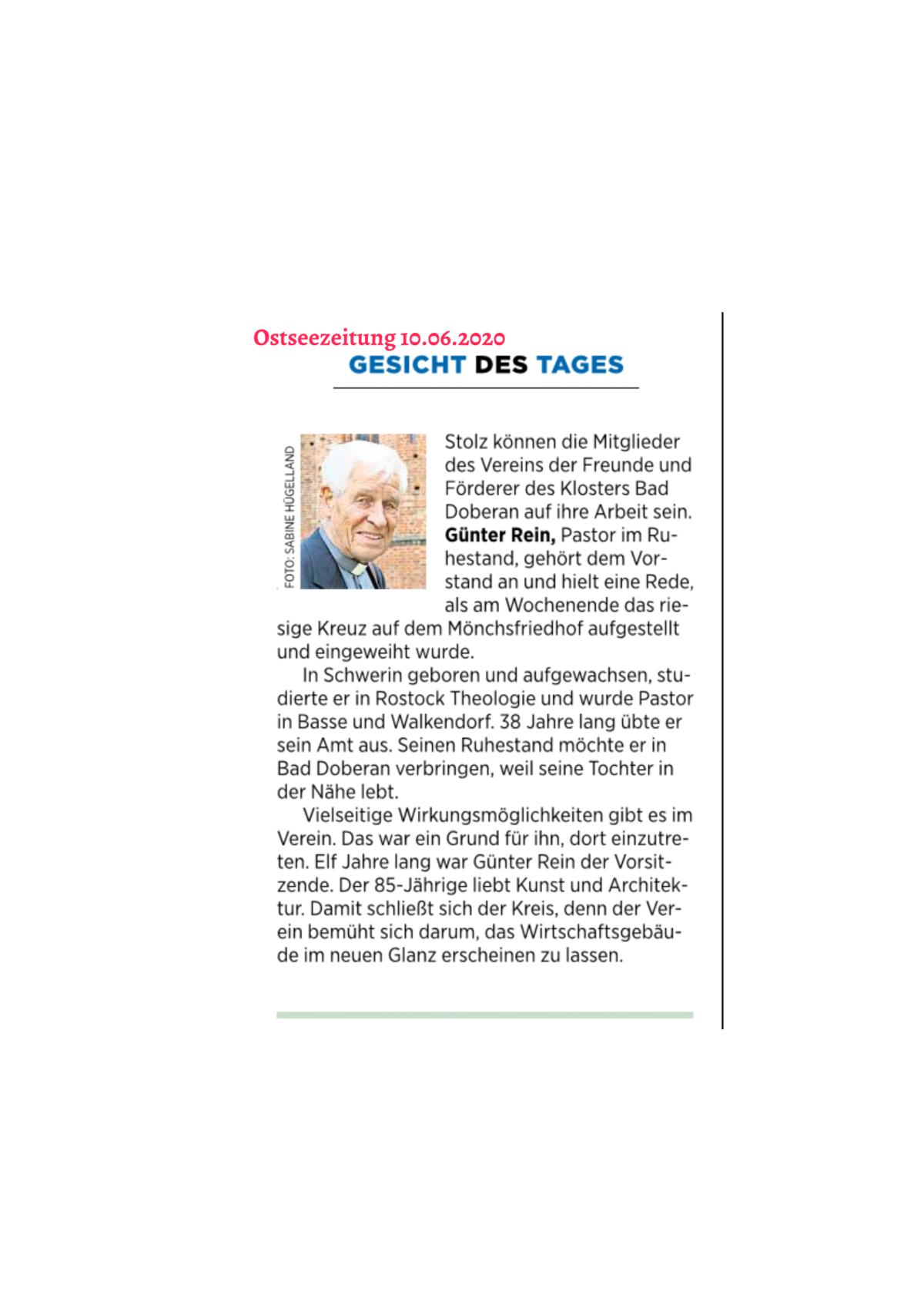 Gesicht des Tages Günter Rein